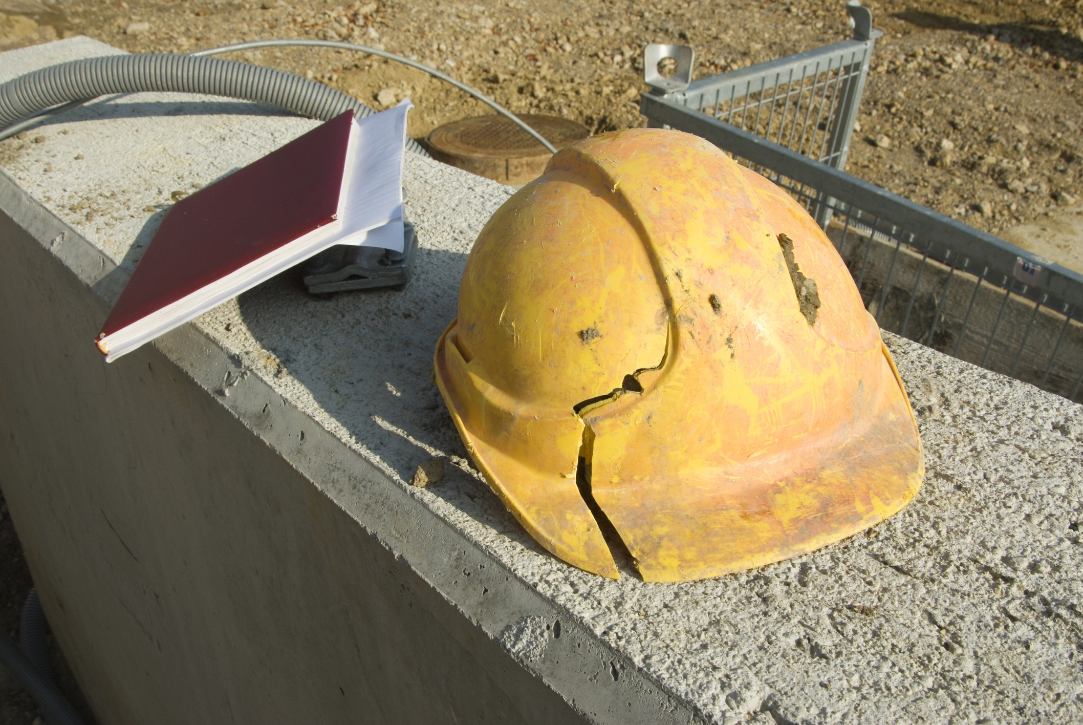 Broken construction hard hat