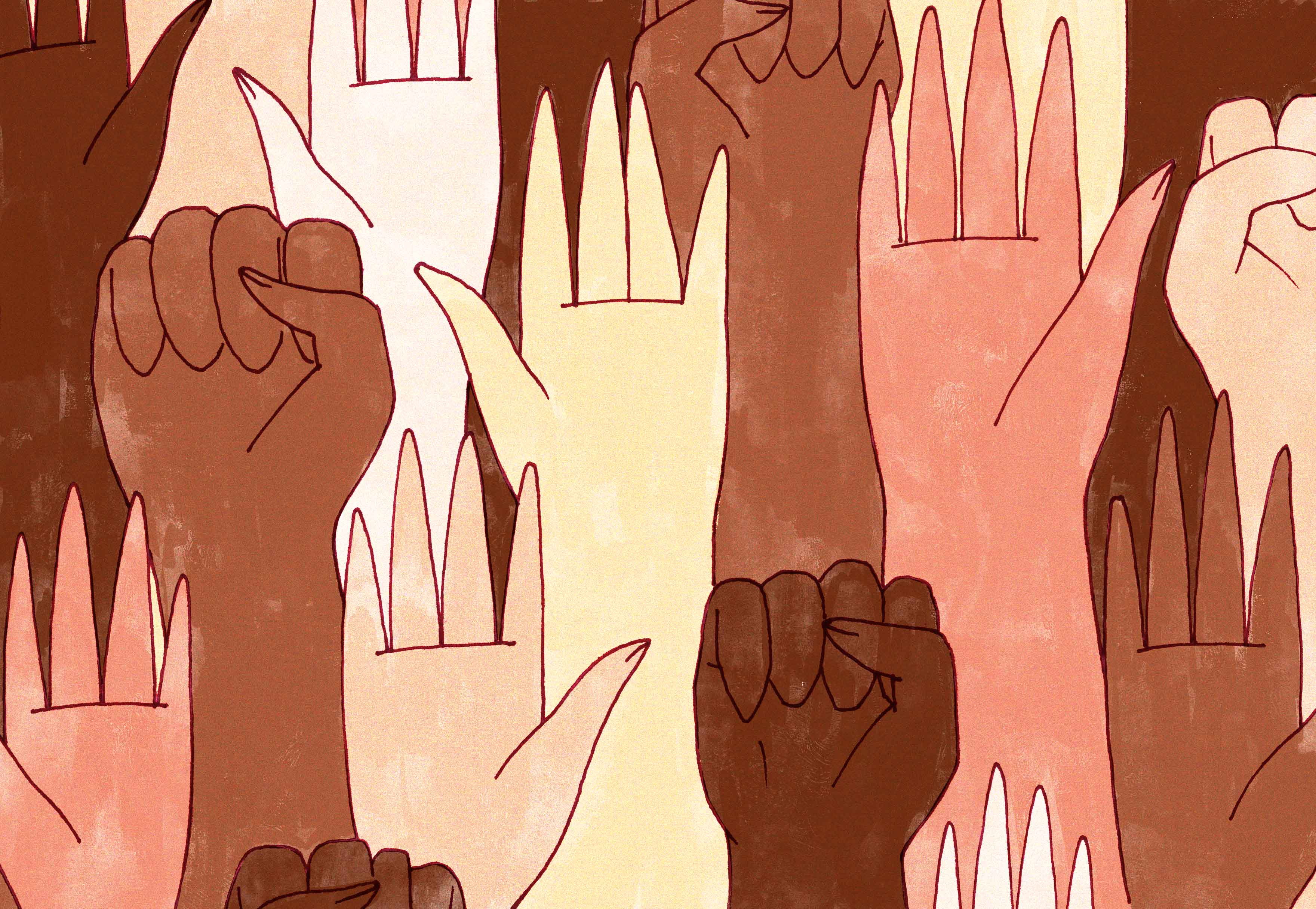 An array of hands, mostly black and POC, and some white, some holding the black power first.